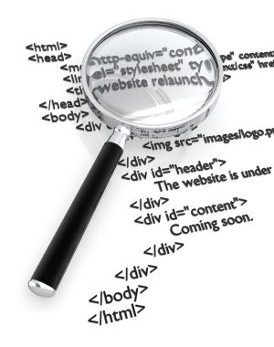 HTML and magnifying glass